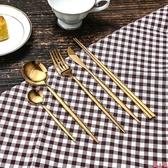 家用西餐餐具套裝刀叉勺筷西餐刀叉不銹鋼餐具三件套本色渡鈦金色