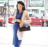 BabyShare時尚孕婦裝【J13074】現貨 孕婦長裙 東大門 涼感背心長裙 孕婦裙  莫代爾寶藍連身背心