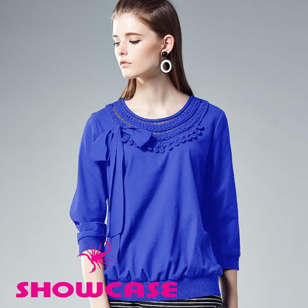 【SHOWCASE】氣質名媛鏤空蕾絲領綁帶七分袖棉質上衣(藍)