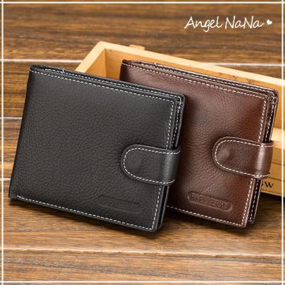 真皮短夾-超值復古牛皮搭釦橫款男士皮夾錢夾零錢包 Angelnana (SMA0227)