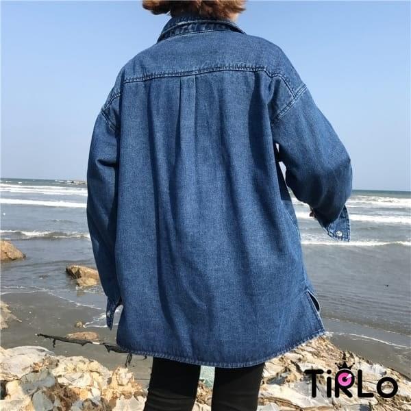 外套-Tirlo-寬鬆大口袋牛仔襯衫外套-一色/ML(現+追加預計5-7工作天出貨)
