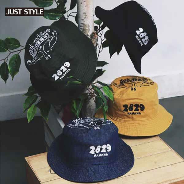 漁夫帽【JS精心苑】韓版手掌刺綉休閒純棉牛仔布圓頂漁夫帽/盆帽/可折疊遮陽帽