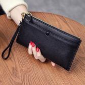 皮夾錢包女長款真皮多功能頭層牛皮簡約拉練手拿包手機錢夾潮   都市時尚
