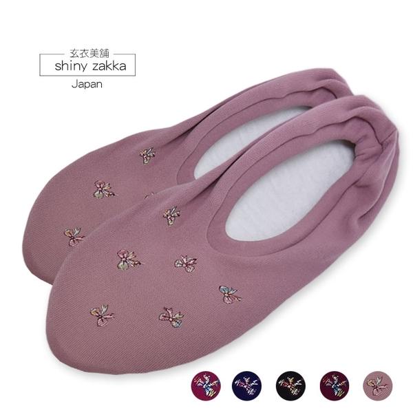 日本室內/旅用布拖-細繡蝴蝶結棉底折疊布拖鞋22~24(M)-玄衣美舖