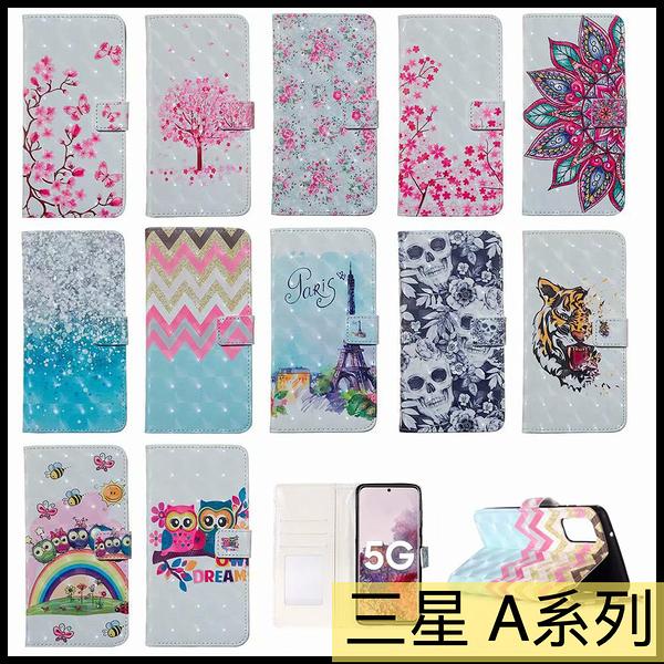 【萌萌噠】三星 Galaxy A51 A71 日韓時尚個性彩繪側翻皮套 全包軟邊 插卡支架 手機套 手機殼