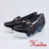 kadia.復古花色拼接皮革楔型包鞋(0053-90黑色)