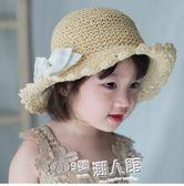 親子草帽母女夏天鏤空可折疊草帽嬰幼兒童大蝴蝶結沙灘涼帽遮陽帽   9號潮人館