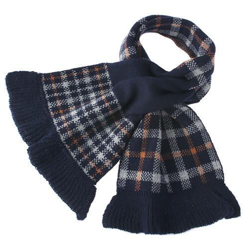 DAKS經典格紋雙面拼色羊毛圍巾(深藍色)239337-2