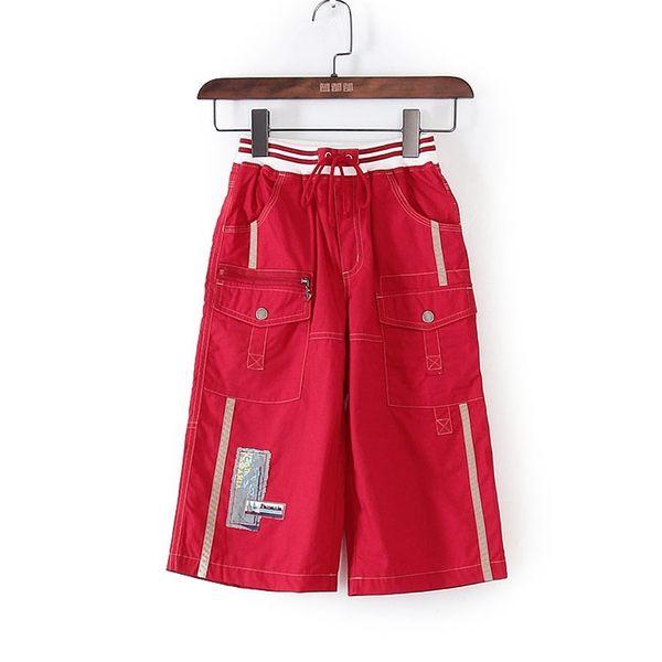 [超豐國際]巴春夏裝男童裝紅色系帶運動直筒褲子 43928(1入)