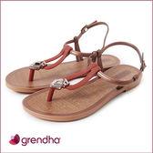 GRENDHA 羅馬風情金屬飾扣涼鞋-咖啡