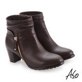 A.S.O 簡約風格 精緻質感真皮短靴 咖啡色