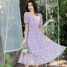 氣質方領公主風花朵蕾絲宴會洋裝[9913...
