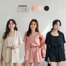 現貨-MIUSTAR 三件式!單釦短袖西裝外套+細肩背心+短褲(共3色)【NJ1108】