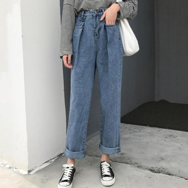 秋季女裝新款韓版高腰寬鬆闊腿褲復古港風直筒休閒九分學生牛仔褲