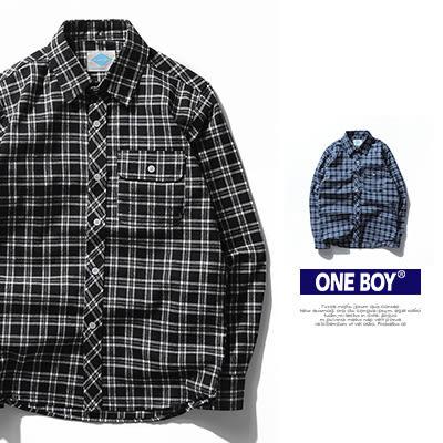 『 One Boy 』【N51902】極簡百搭寬版格紋休閒長袖襯衫