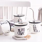 釉中彩日系貓陶瓷馬克杯帶勺 可愛咖啡杯卡通杯子個性創意水杯