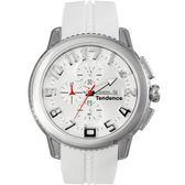 Tendence 天勢 圓弧系列計時手錶-白/45mm TY016002