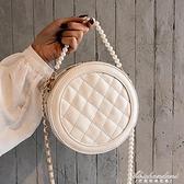 ins小包包仙女新款高級感洋氣菱格小圓包珍珠錬條側背斜背包 黛尼時尚精品