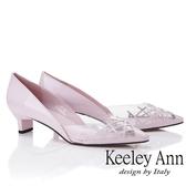 2019 春夏_Keeley Ann  膠片側邊簍空低跟包鞋粉紅色Ann 系列