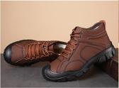 冬季男棉鞋真皮加絨厚底羊毛高筒保暖鞋中老年戶外登山防滑棉皮鞋