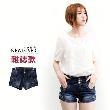 牛仔短褲 NEWLOVER 【111-4167】韓版雜誌款3釦變體小抓痕牛仔超短褲S-L