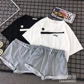 闊腿褲休閒運動套裝女夏季新款韓版時尚學生短袖短褲兩件套潮     原本良品