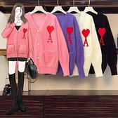 VK精品服飾 韓系毛絨針織字母愛心大碼寬鬆單品長袖上衣