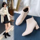 大尺碼女鞋 2019新款百搭顯瘦絨皮拼接方頭中跟短靴~2色
