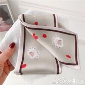 絲巾 新款原創貓爪設計韓國小絲巾女百搭長款小領巾春夏秋季多功能發帶『快速出貨』
