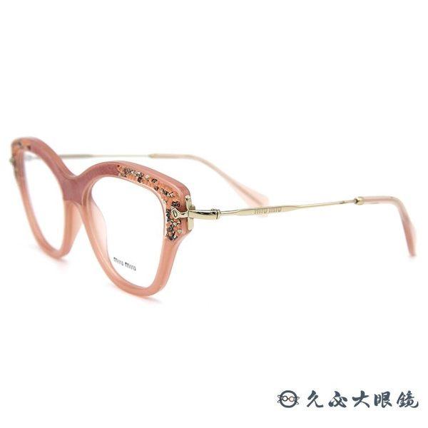 Miu Miu 眼鏡 貓眼 奢華鑽飾 近視眼鏡 VMU07 TV1-1O1 粉-金 久必大眼鏡