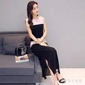 無袖洋裝名媛氣質港味2020夏裝新款拼接假兩件連身裙氣質復古長裙 yu13866『寶貝兒童裝』