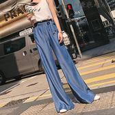 天絲牛仔闊腿褲女薄款垂感拖地寬腿褲