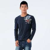 BigTrain 加大牡丹鯉魚圓領長袖T-男-深藍-O20233