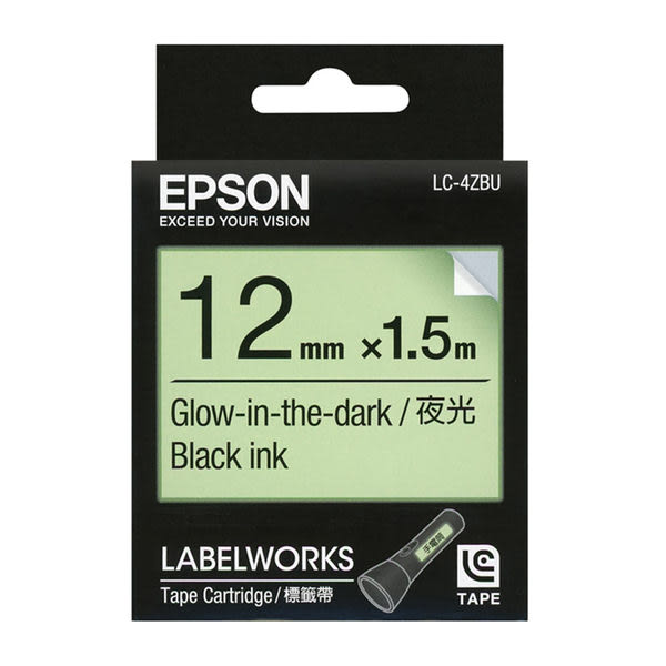 EPSON 12mm 螢光系列標籤帶 LC-4ZBU 白底黑字