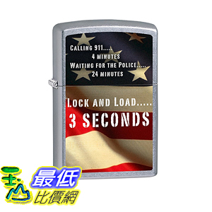 [美國直購] Zippo Lighter: Second Amendment, American Flag - Street Chrome 打火機