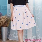 【RED HOUSE 蕾赫斯】粉嫩花朵打褶裙(共2色)