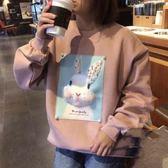 大學T恤 韓版手工釘珠刷毛兔子T 花漾小姐【現貨】