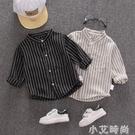 男童長袖襯衫新款男寶寶襯衣兒童春夏洋氣韓版上衣潮兒童豎條襯衫 小艾新品