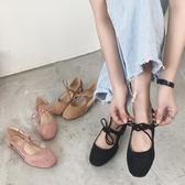 2018春夏新款芭蕾舞綁帶淺口女鞋復古百搭方頭絨面單鞋平底奶奶鞋 挪威森林