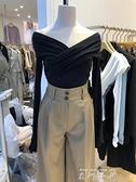 2021韓國東大門秋裝新款時尚不規則交叉V領露肩修身長袖T恤女上衣