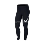 Nike 長褲 NSW Swoosh Leggings 黑 白 女款 緊身褲 運動休閒 【PUMP306】 CJ2656-013