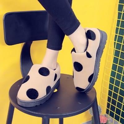 短筒雪靴-時尚可愛圓點保暖女厚底靴子4色73kg89【巴黎精品】