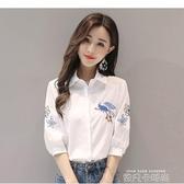 純色棉繡花襯衫女中短袖2020春夏季新款女裝洋氣質韓版白襯衣上衣 依凡卡時尚