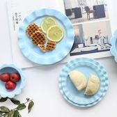 清新啞光陶瓷花邊米飯碗沙拉碗點心盤西餐盤