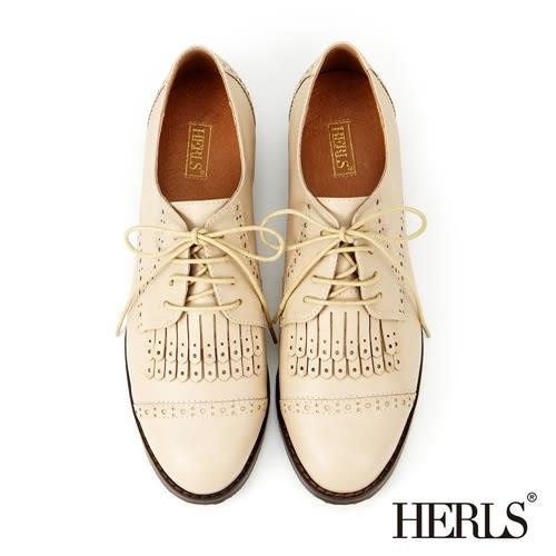 HERLS 牛津鞋 內真皮 復古英倫 流蘇女鞋-米色