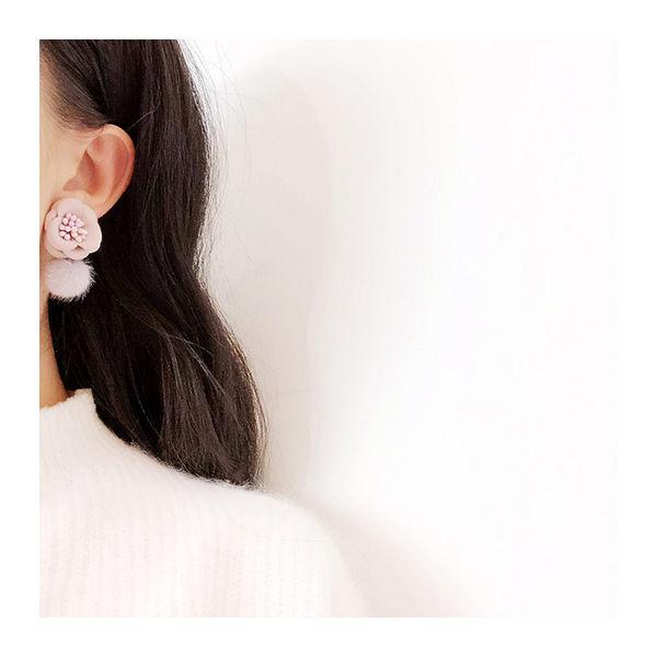 耳環 個性 立體 花朵 絲絨 毛球 吊墜 甜美 耳環【DD1711044】 ENTER  11/30