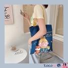 熱賣牛仔包 可愛卡通牛仔藍帆布包側背大容量環保購物袋學生書包手提袋女 coco