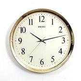 SEIKO精工時鐘 亮眼金色邊框簡約設計掛鍾 滑動式靜音秒針 柒彩年代【NG1730】原廠公司貨
