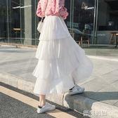 半身裙蛋糕裙半身裙女中長款2019夏季新白色百摺裙仙女小清新半身長裙子 曼莎時尚