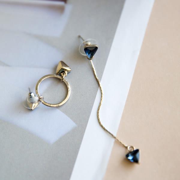 耳環 韓版新款復古水晶三角型圓環長短款不對稱流蘇耳環【1DDE0650】